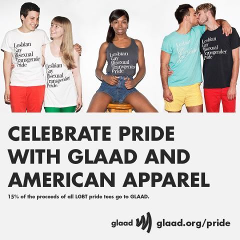 8299a27f68591b GLAAD and American Apparel announced a renewal of their LGBT Pride  partnership with a newly designed shirt to be released in conjunction with  LGBT Pride ...