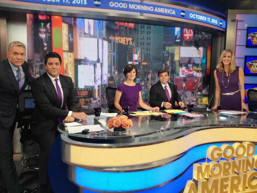 Good Morning America Guest Host Today : Morning shows broadcast in purple for spiritday glaad
