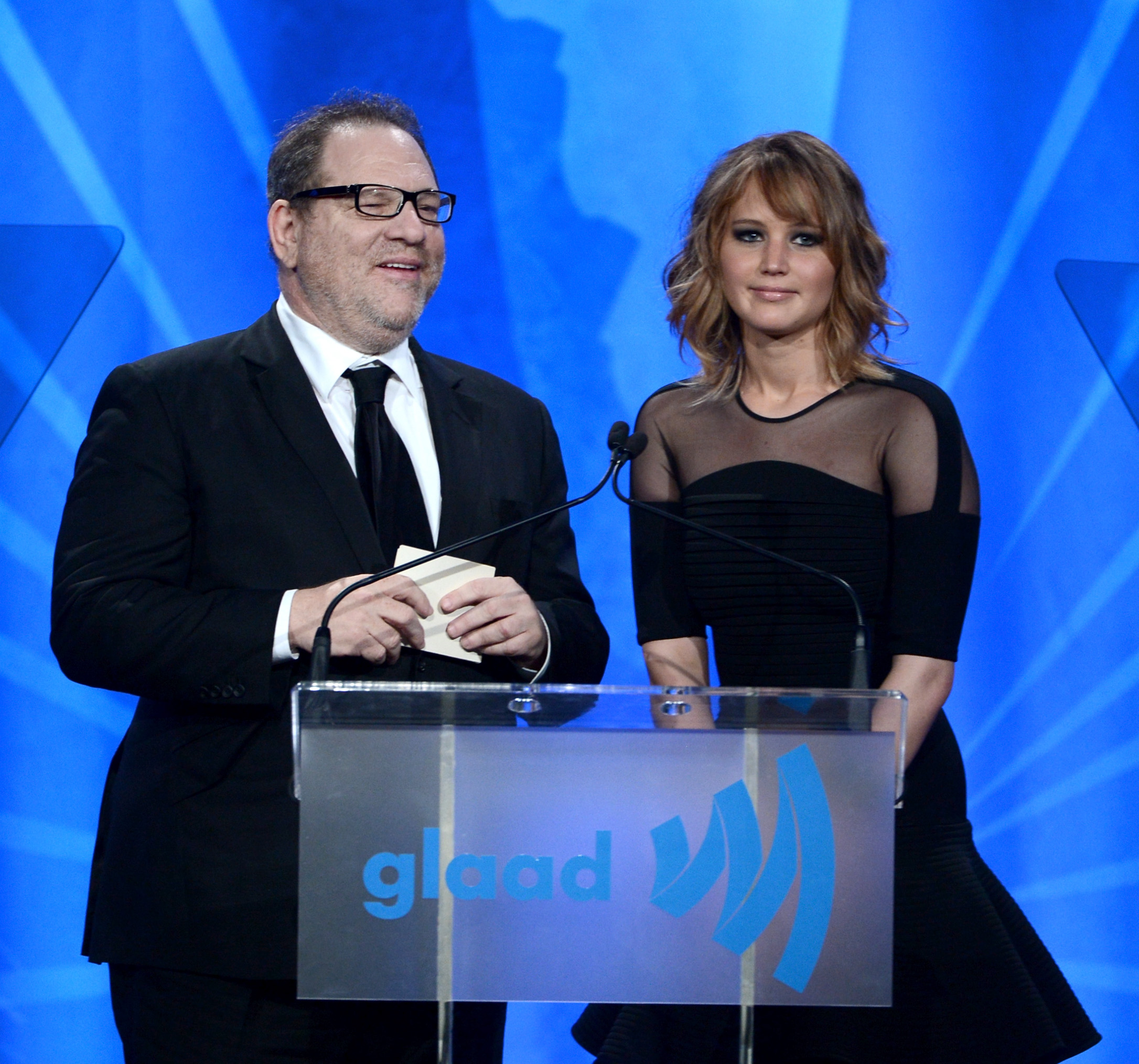 VIDEO: Harvey Weinstein and Jennifer Lawrence present to ...