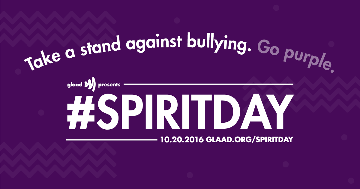 glaad.org - Take a stand for LGBTQ youth. Join Spirit Day on October 20, 2016.