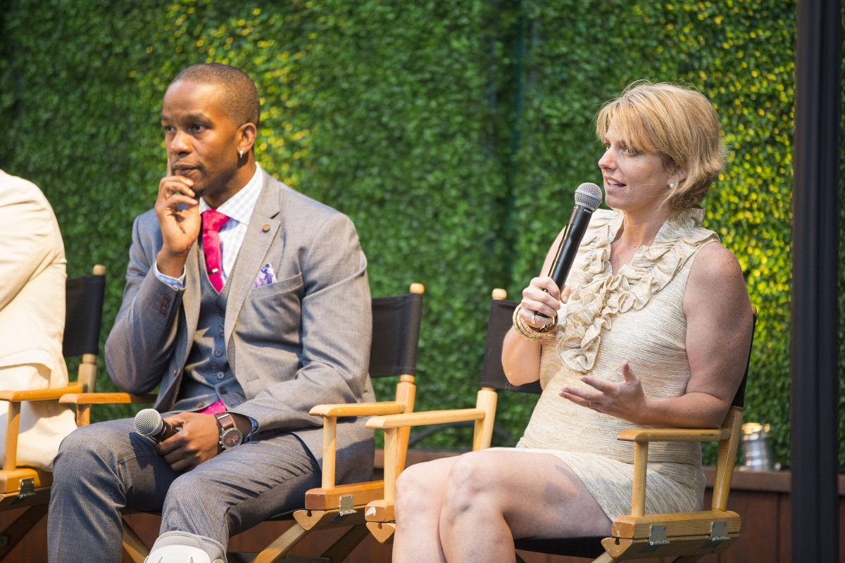 Wade Davis of You Can Play, and GLAAD President Sarah Kate Ellis