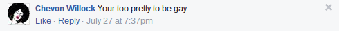Anti-gay comment on J-FLAG's Facebook page