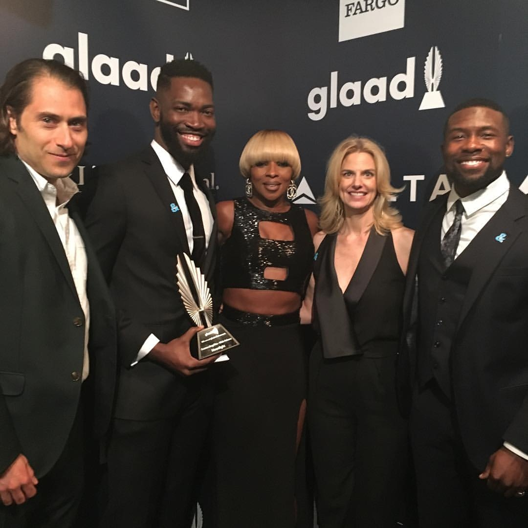 Jeremy Kleiner, Tarell Alvin McCraney, Mary J. Blige, GLAAD President & CEO Sarah Kate Ellis, and Trevante Rhodes at the 28th Annual GLAAD Media Awards in Los Angeles on April 1, 2017