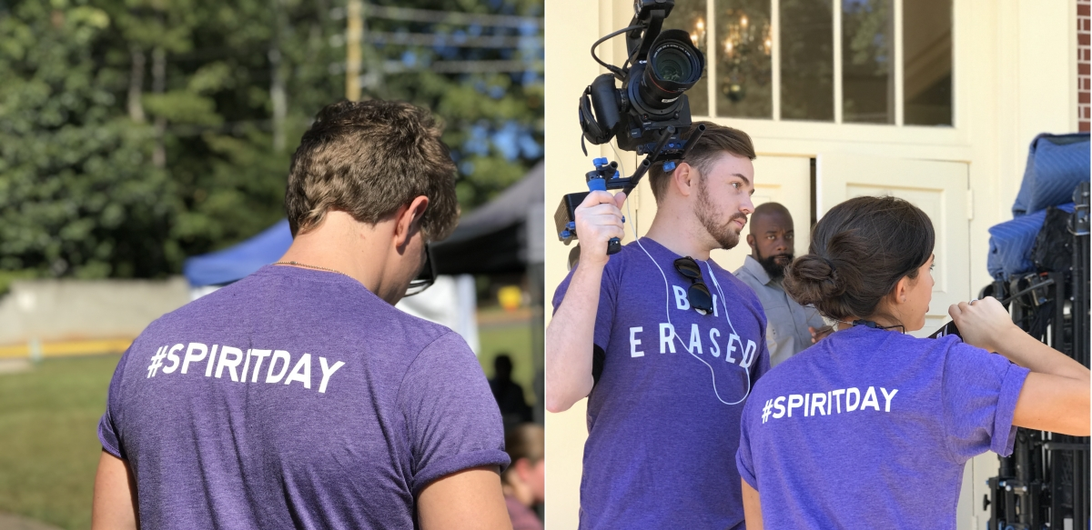 The Boy Erased crew wears their Spirit Day shirts on set