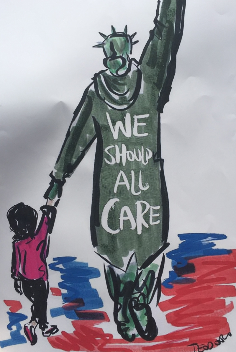 """We should all care"" sign from rally; Statue of liberty holding child's hand"