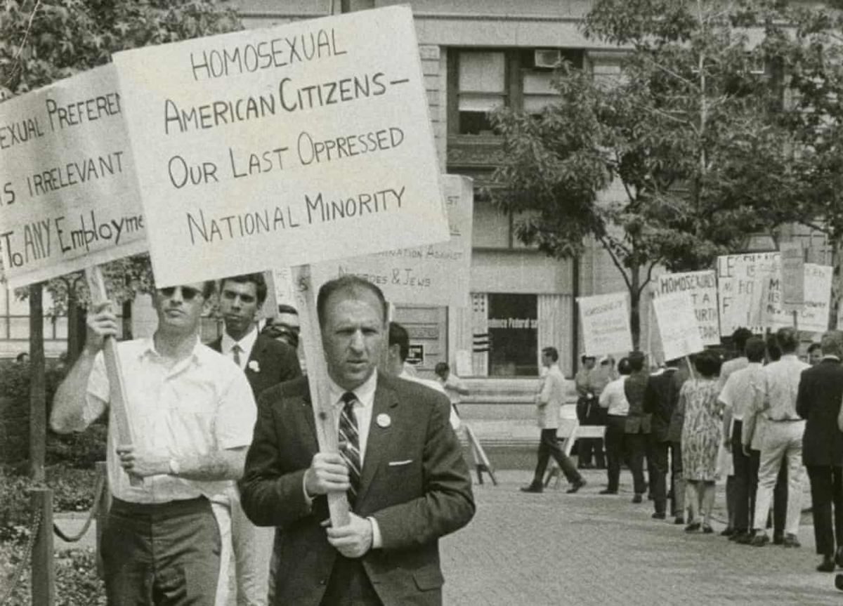 Frank Kameny picketing in a still from a documentary, The Lavender Scare. Photograph - PBS