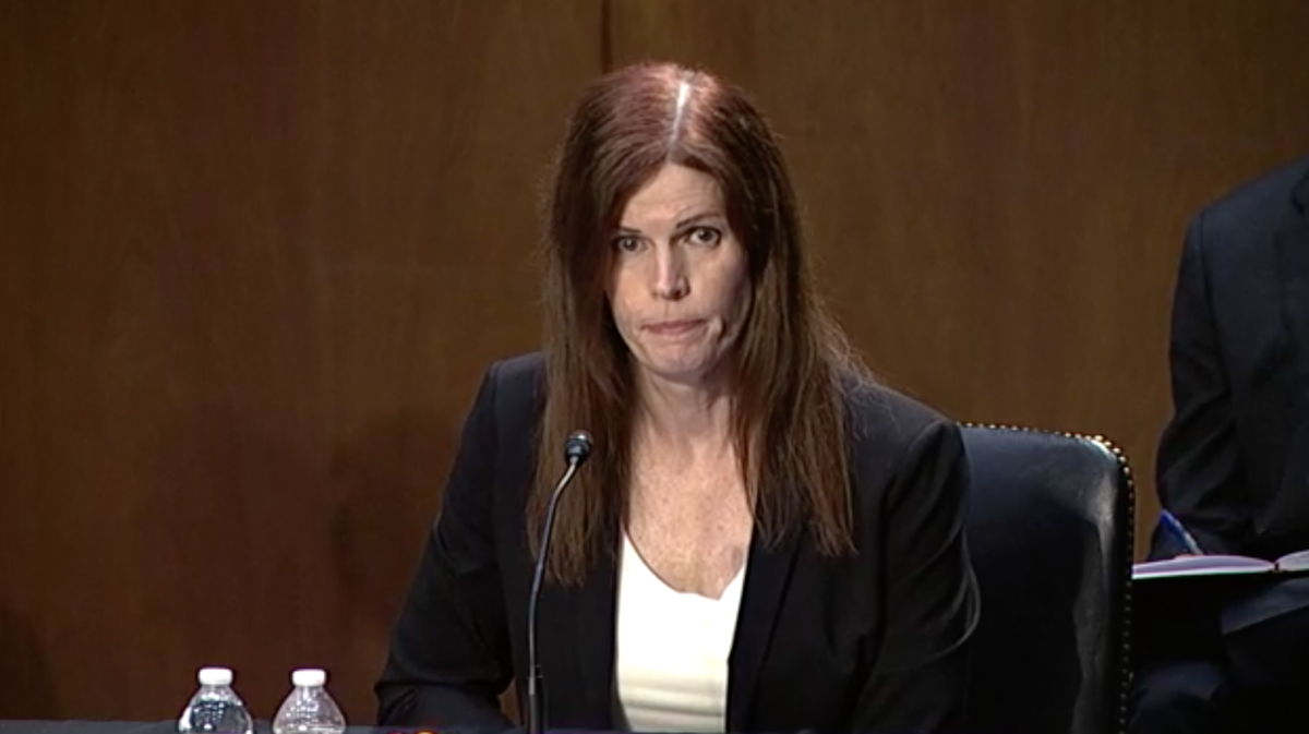 Shawn Skelly seated and speaking at senate confirmation hearing