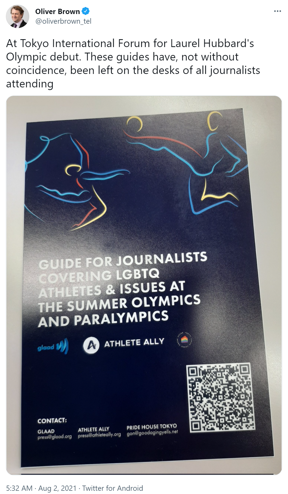 Tweet with photo of postcard for Olympic Guide