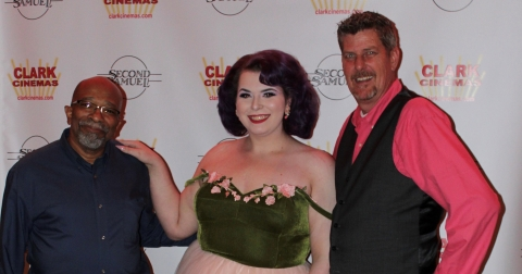 Actor Nat Martin, actress Monica Helms, and director J Wayne Patterson Jr against a step-and-repeat during a screening of their movie