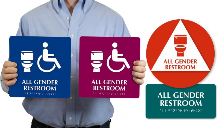 MyDoorSigncom Donating Allgender Bathroom Signs To College - Gender neutral bathroom signs