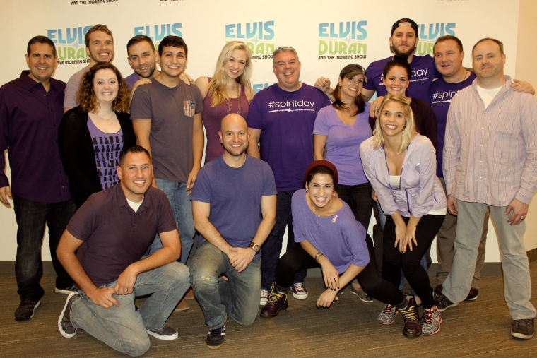 Elvis duran and the z100 morning show went purple for spirit day this