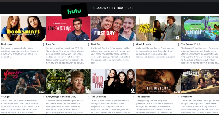 GLAAD Hulu Spirit Day Carousel Picks 2020