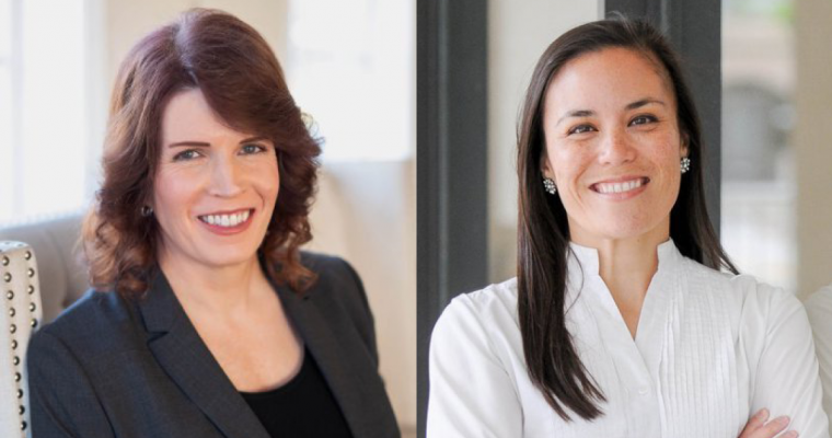 Transgender military appointee Shawn Skelly smiling in a dark blazer, gay military appointee Gina Ortiz Jones smiling in a white collared shirt with arms crossed