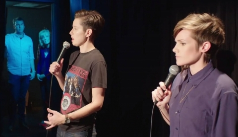 Rhea and Cameron doing stand-up