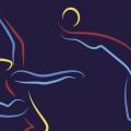 graphic design of two bodies engaged in gymnastics and soccer